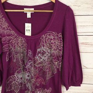 NWT LOFT Purple Floral BOHO Peasant Top Size S